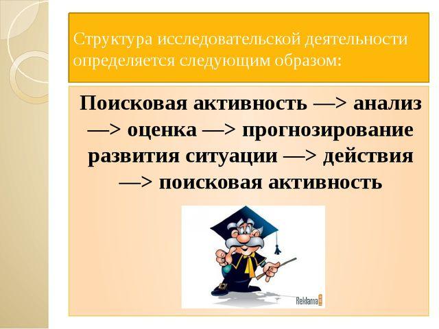 Структура исследовательской деятельности определяется следующим образом: Пои...
