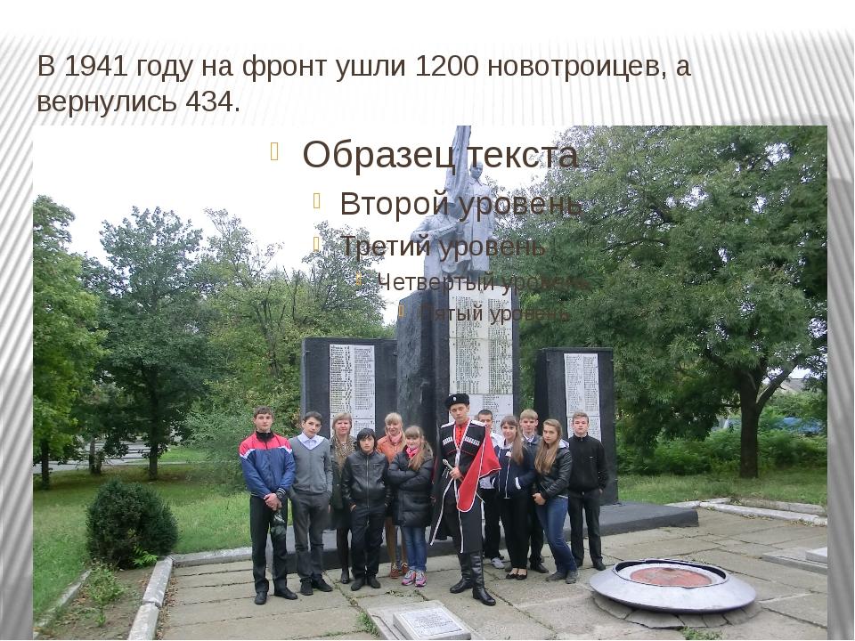 В 1941 году на фронт ушли 1200 новотроицев, а вернулись 434.