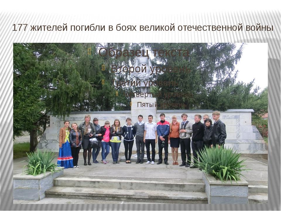 177 жителей погибли в боях великой отечественной войны