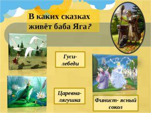 В каких сказках живёт баба Яга? Царевна- лягушка Гуси-лебеди Финист- ясный со