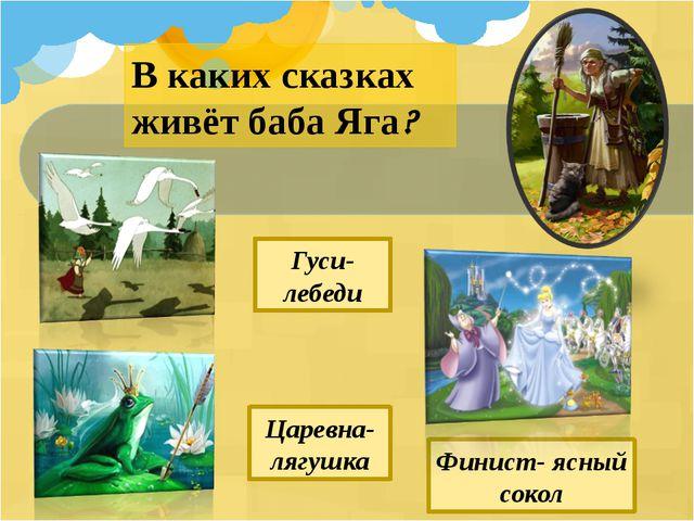 В каких сказках живёт баба Яга? Царевна- лягушка Гуси-лебеди Финист- ясный со...