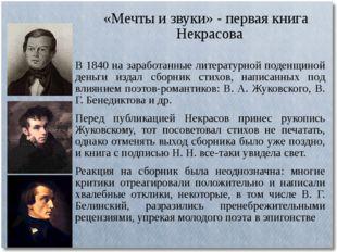«Мечты и звуки» - первая книга Некрасова В 1840 на заработанные литературной