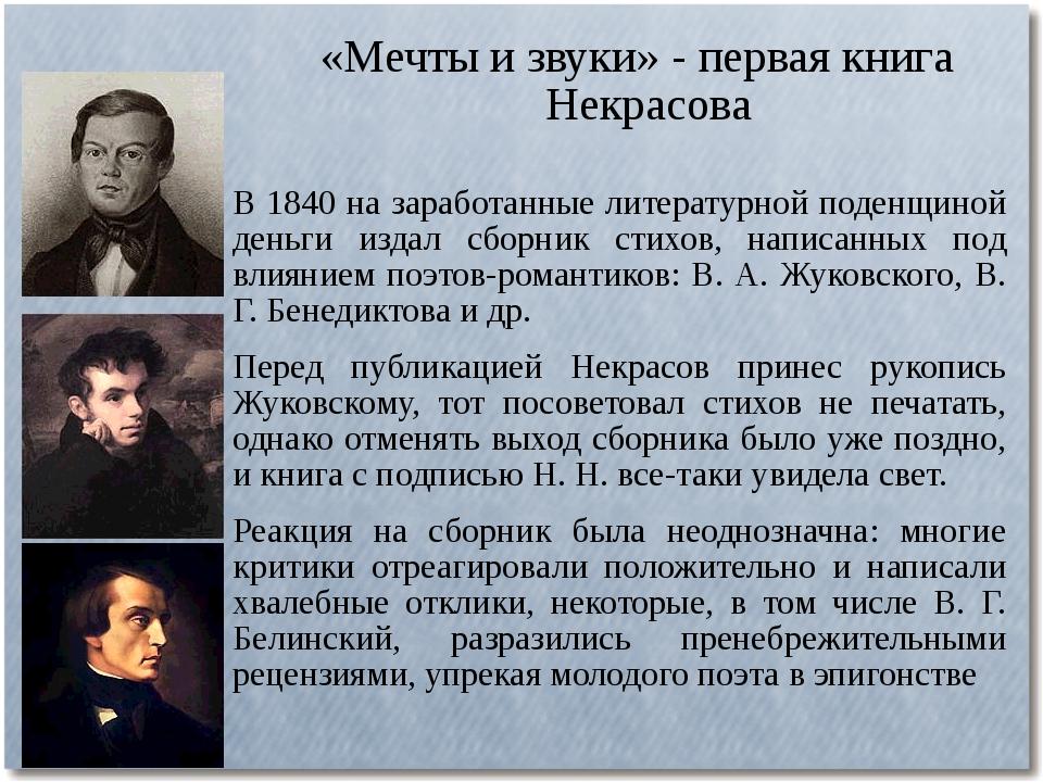 «Мечты и звуки» - первая книга Некрасова В 1840 на заработанные литературной...