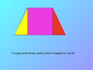 Площадь всей фигуры равна сумме площадей его частей.