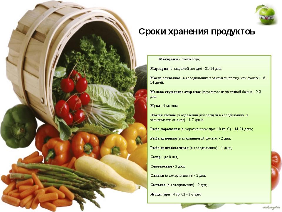 Сроки хранения продуктов Макароны- около года; Маргарин(в закрытой посуде)...
