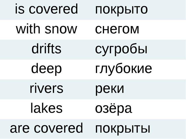 is covered покрыто with snow снегом drifts сугробы deep глубокие rivers реки...