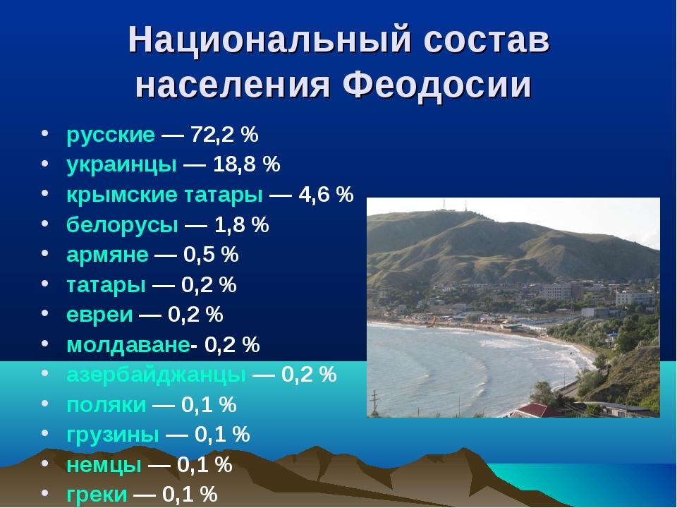 Национальный состав населения Феодосии русские— 72,2% украинцы— 18,8% кры...