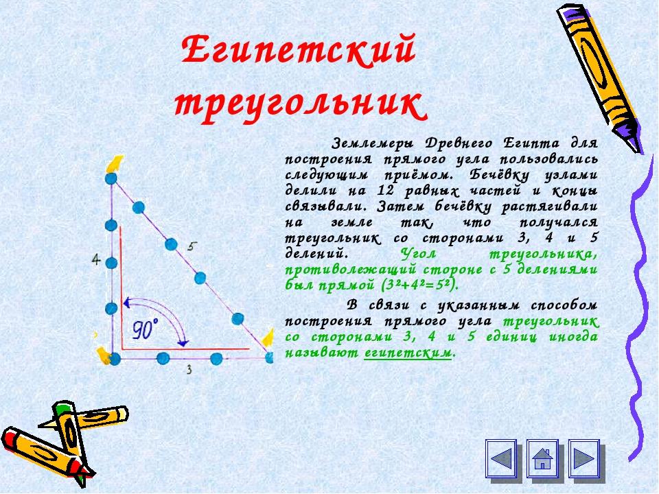 Египетский треугольник Землемеры Древнего Египта для построения прямого угла...