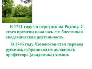 В 1741 году он вернулся на Родину. С этого времени началась его блестящая ак
