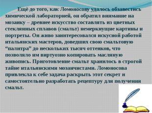 Ещё до того, как Ломоносову удалось обзавестись химической лабораторией, он