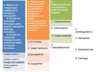 6.Верны ли следующие суждения о процессе познания? А.В процессе познания бол
