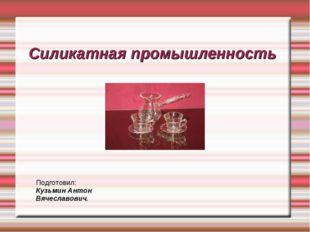 Силикатная промышленность Подготовил: Кузьмин Антон Вячеславович.