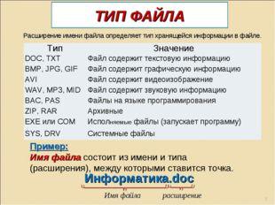ТИП ФАЙЛА Пример: Имя файла состоит из имени и типа (расширения), между котор