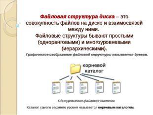 Файловая структура диска – это совокупность файлов на диске и взаимосвязей ме