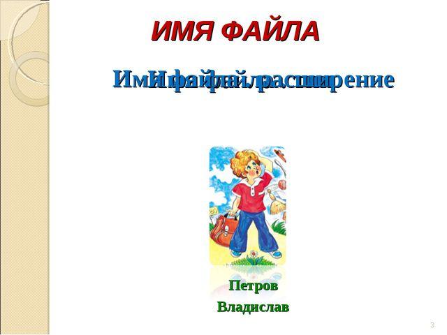 Петров Владислав ИМЯ ФАЙЛА Имя файла . тип * Имя файла . расширение