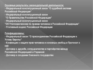 Основные результаты законодательной деятельности: - Федеральный конституционн