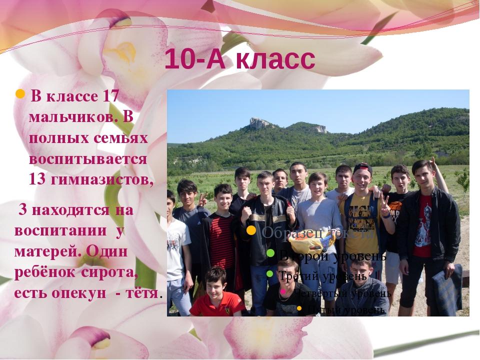 10-А класс В классе 17 мальчиков. В полных семьях воспитывается 13 гимназисто...