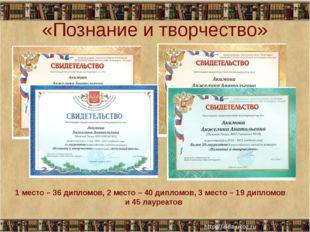 «Познание и творчество» 1 место – 36 дипломов, 2 место – 40 дипломов, 3 место