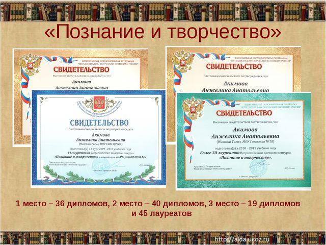«Познание и творчество» 1 место – 36 дипломов, 2 место – 40 дипломов, 3 место...