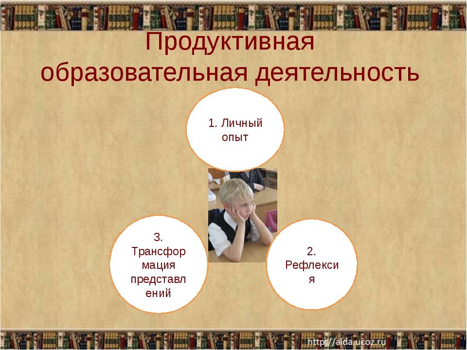 Продуктивная образовательная деятельность 1. Личный опыт 2. Рефлексия 3. Тран...