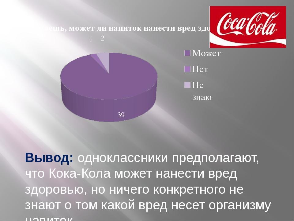 Вывод: одноклассники предполагают, что Кока-Кола может нанести вред здоровью,...