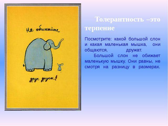 Толерантность –это терпение Посмотрите: какой большой слон и какая маленькая...