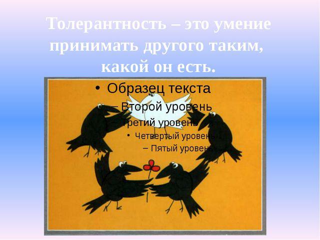Толерантность – это умение принимать другого таким, какой он есть.