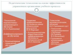 Педагогические технологии на основе эффективности управления и организации у