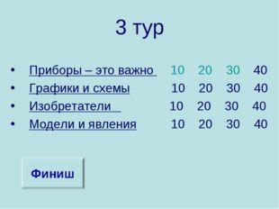 3 тур Приборы – это важно 10 20 30 40 Графики и схемы 10 20 30 40 Изобретател
