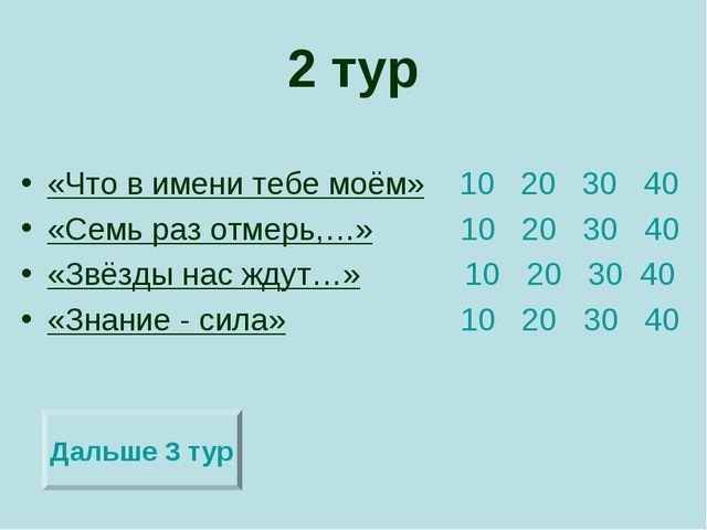2 тур «Что в имени тебе моём» 10 20 30 40 «Семь раз отмерь,…» 10 20 30 40 «Зв...
