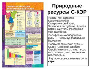Природные ресурсы С-КЭР Нефть, газ: Дагестан, Краснодарский и Ставропольский