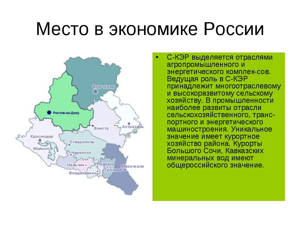Место в экономике России С-КЭР выделяется отраслями агропромышленного и энерг...