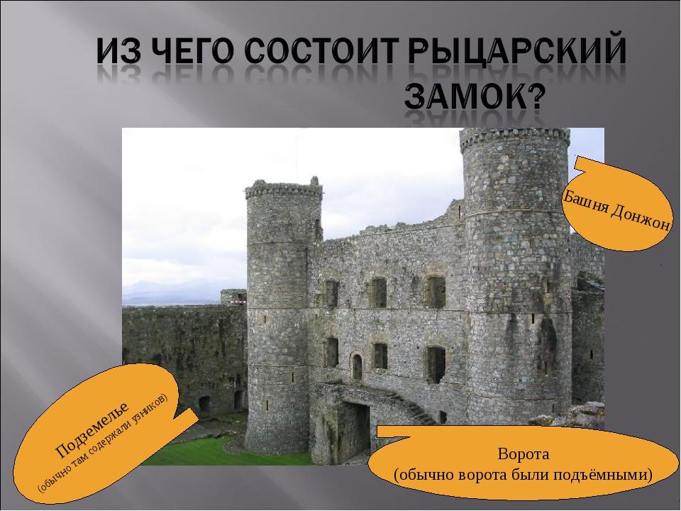Подземелье (обычно там содержали узников) Ворота (обычно ворота были подъёмны...