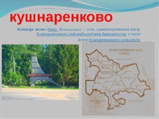 кушнаренково Кушнаре́нково(башк.Кушнаренко)— село, административный центр