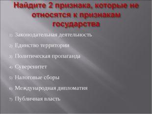 Законодательная деятельность Единство территории Политическая пропаганда Суве