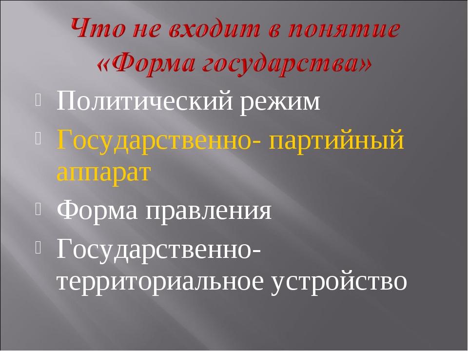 Политический режим Государственно- партийный аппарат Форма правления Государс...