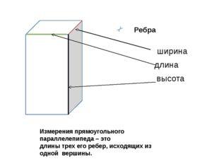 Ребра высота длина ширина Измерения прямоугольного параллелепипеда – это дли