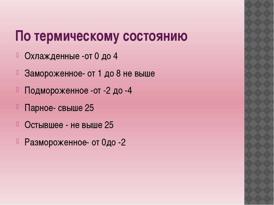 По термическому состоянию Охлажденные -от 0 до 4 Замороженное- от 1 до 8 не в...