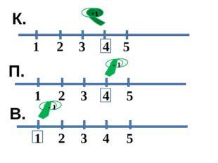 1 2 3 5 4 К. 1 1 2 2 3 3 4 4 5 5 +1 - 1 - 1 П. В.