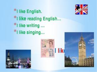 I like English I like English. I like reading English… I like writing … I lik
