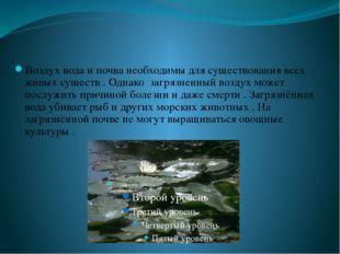 Воздух вода и почва необходимы для существования всех живых существ . Однако