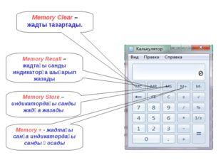 Memory Clear – жадты тазартады. Memory Recall – жадтағы санды индикаторға шығ