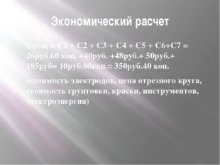 Экономический расчет Собщ = С1 + С2 + С3 + С4 + С5 + С6+С7 = 26руб.60 коп. +4