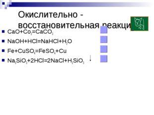 Окислительно - восстановительная реакция CaO+Co2=CaCO3 NaOH+HCl=NaHCl+H2O Fe+
