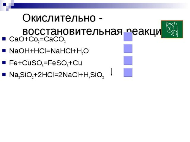 Окислительно - восстановительная реакция CaO+Co2=CaCO3 NaOH+HCl=NaHCl+H2O Fe+...