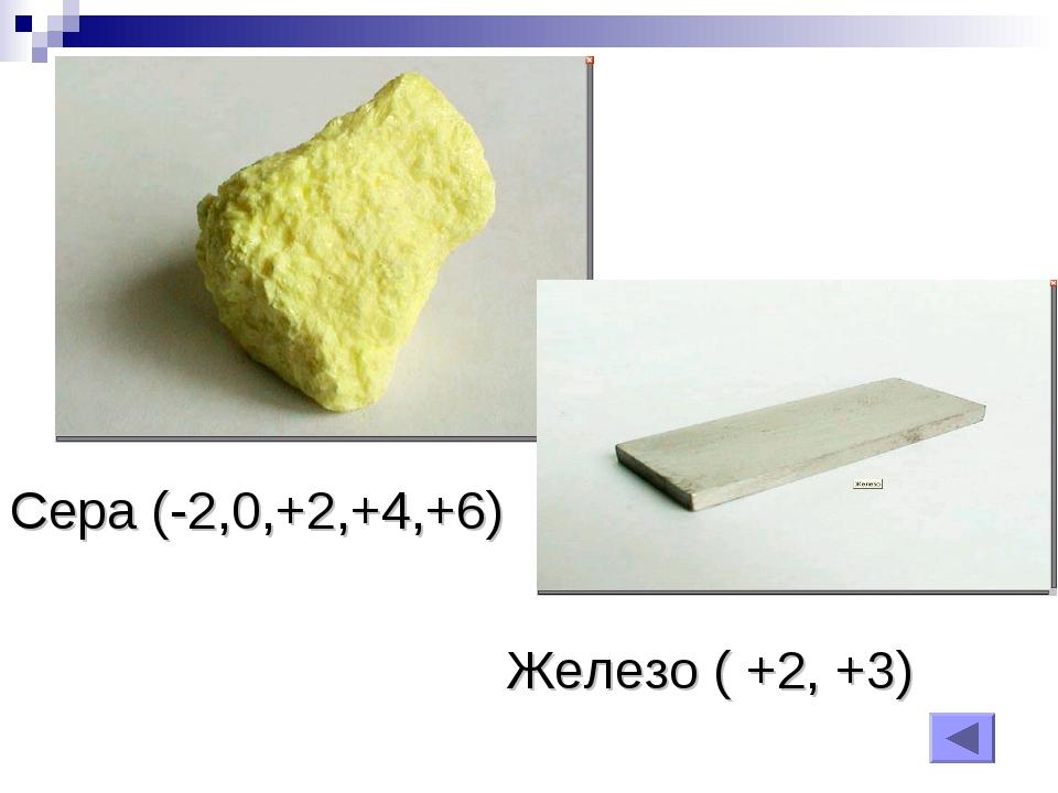 Сера (-2,0,+2,+4,+6) Железо ( +2, +3)
