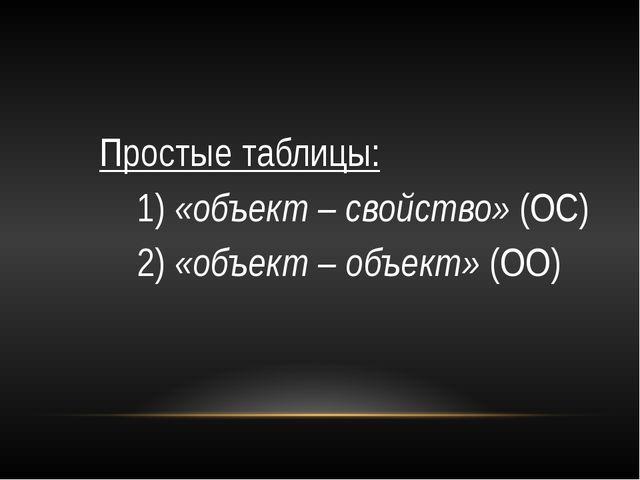 Простые таблицы: 1) «объект – свойство» (ОС) 2) «объект – объект» (ОО)