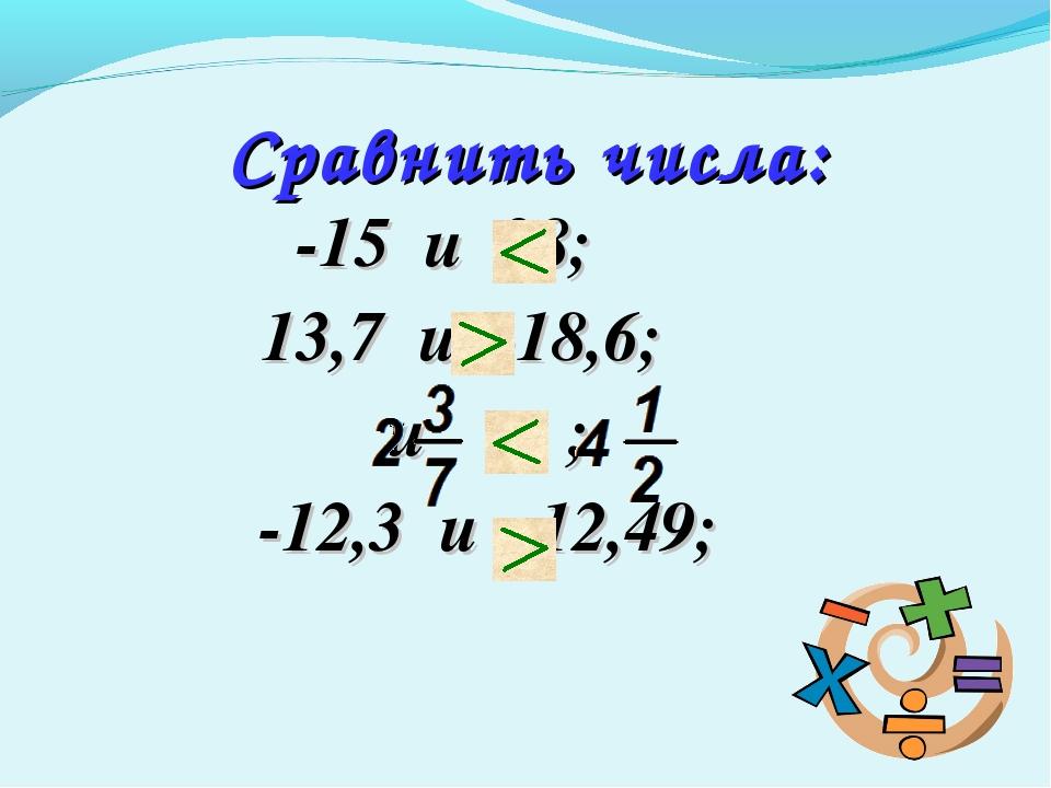 -15 и 28; 13,7 и -18,6; и ; -12,3 и -12,49; Сравнить числа:
