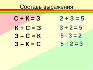 Составь выражения С + К = З К + С = З З – С = К З – К = С 2 + 3 = 5 5 - 3 = 2