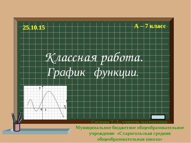 Классная работа. График функции. А – 7 класс Соснова Т.Л., учитель математики...